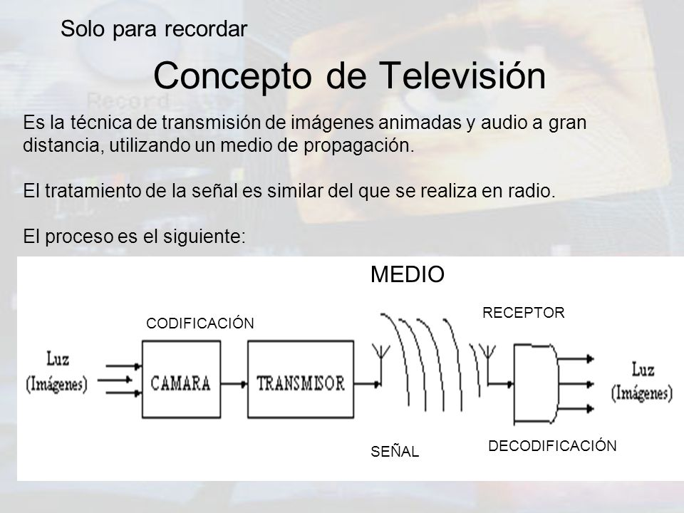 Concepto de Televisión Es la técnica de transmisión de imágenes animadas y audio a gran distancia, utilizando un medio de propagación. El tratamiento