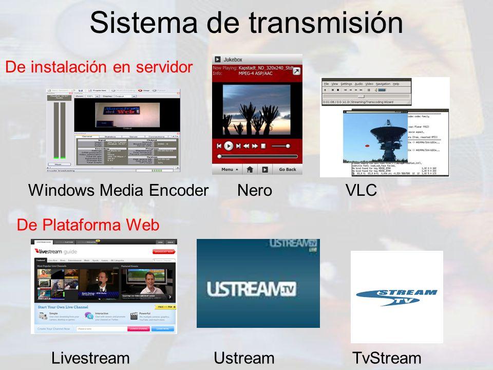 Sistema de transmisión Windows Media Encoder Nero VLC De Plataforma Web De instalación en servidor Livestream Ustream TvStream