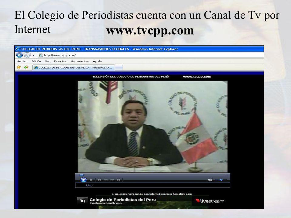 El Colegio de Periodistas cuenta con un Canal de Tv por Internet www.tvcpp.com