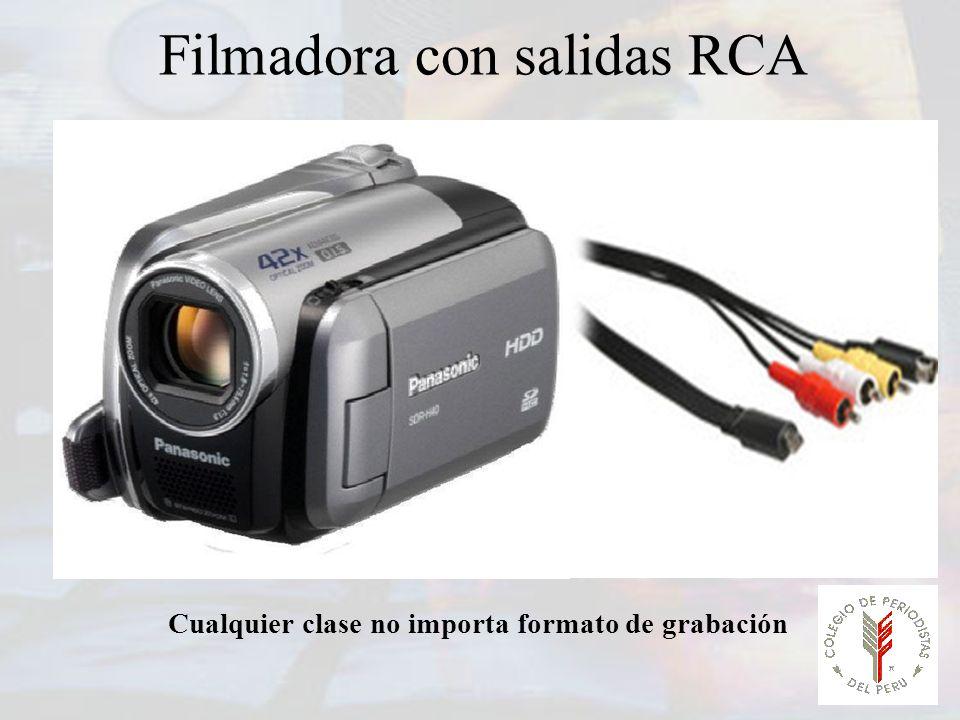 Filmadora con salidas RCA Cualquier clase no importa formato de grabación