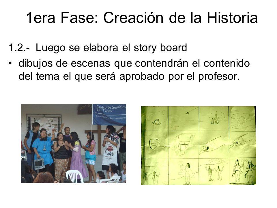 1.2.- Luego se elabora el story board dibujos de escenas que contendrán el contenido del tema el que será aprobado por el profesor. 1era Fase: Creació