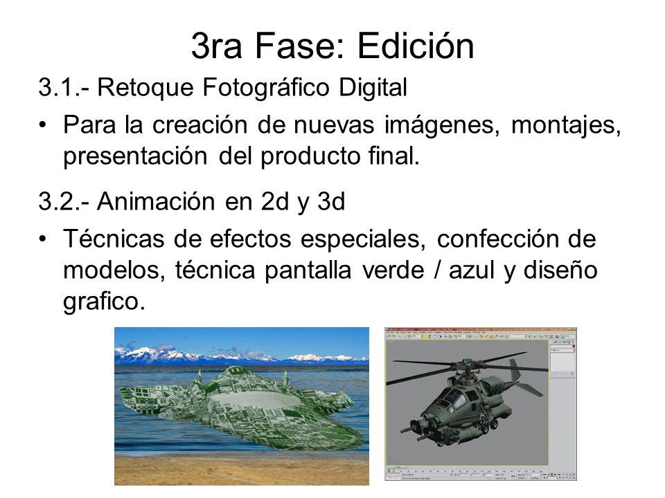 3ra Fase: Edición 3.1.- Retoque Fotográfico Digital Para la creación de nuevas imágenes, montajes, presentación del producto final. 3.2.- Animación en