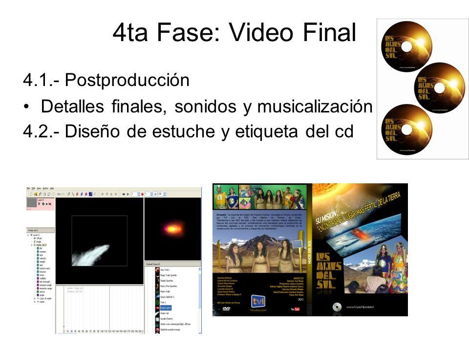 4ta Fase: Video Final 4.1.- Postproducción Detalles finales, sonidos y musicalización 4.2.- Diseño de estuche y etiqueta del cd