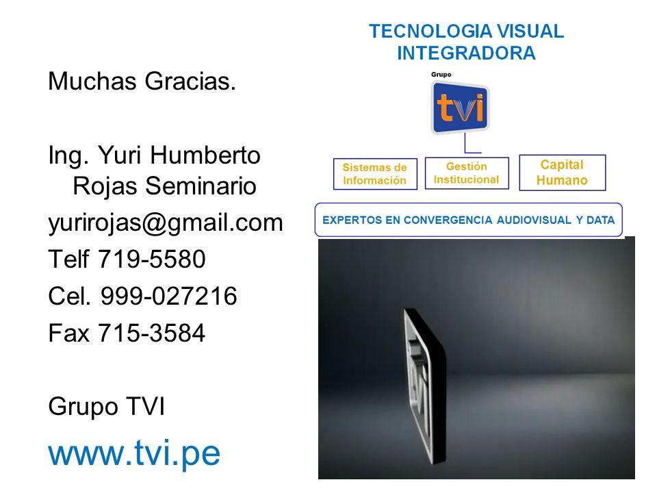 Muchas Gracias. Ing. Yuri Humberto Rojas Seminario yurirojas@gmail.com Telf 719-5580 Cel.