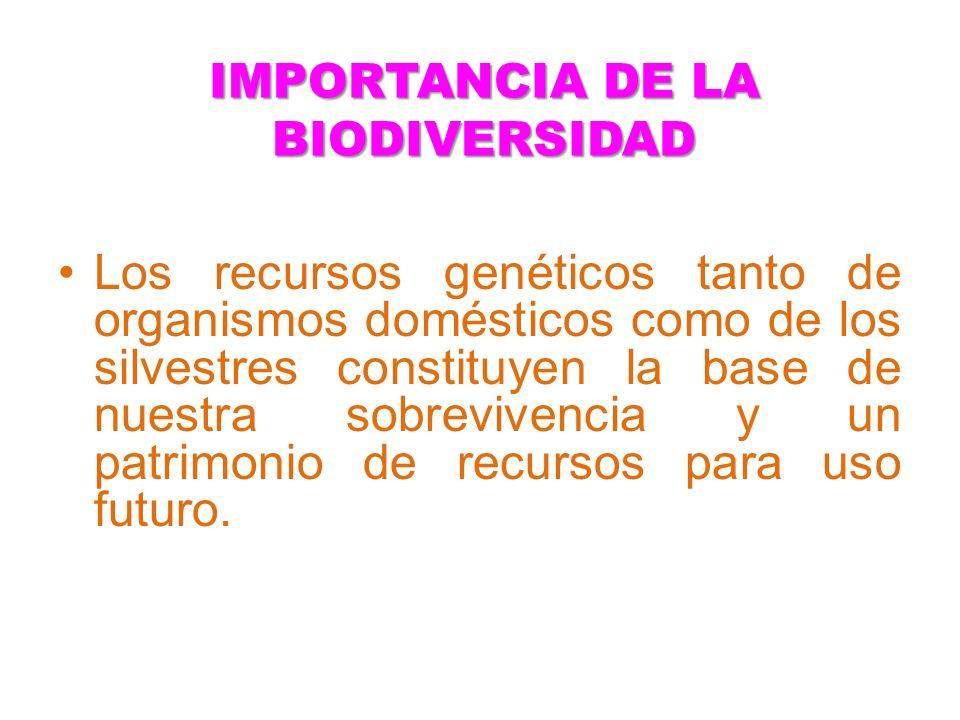 Los recursos genéticos tanto de organismos domésticos como de los silvestres constituyen la base de nuestra sobrevivencia y un patrimonio de recursos
