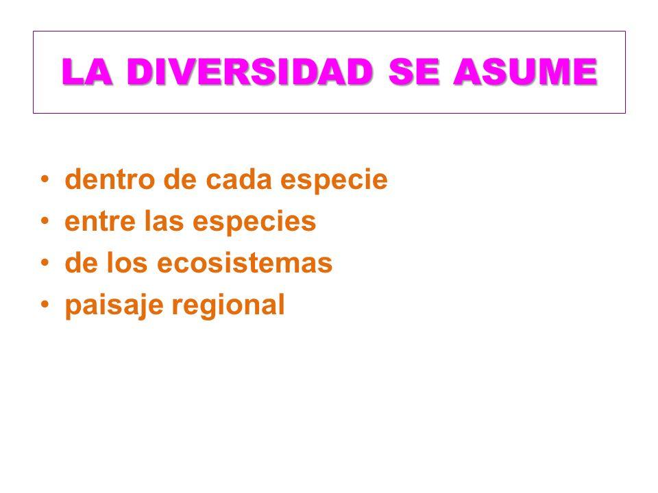 LA DIVERSIDAD SE ASUME dentro de cada especie entre las especies de los ecosistemas paisaje regional