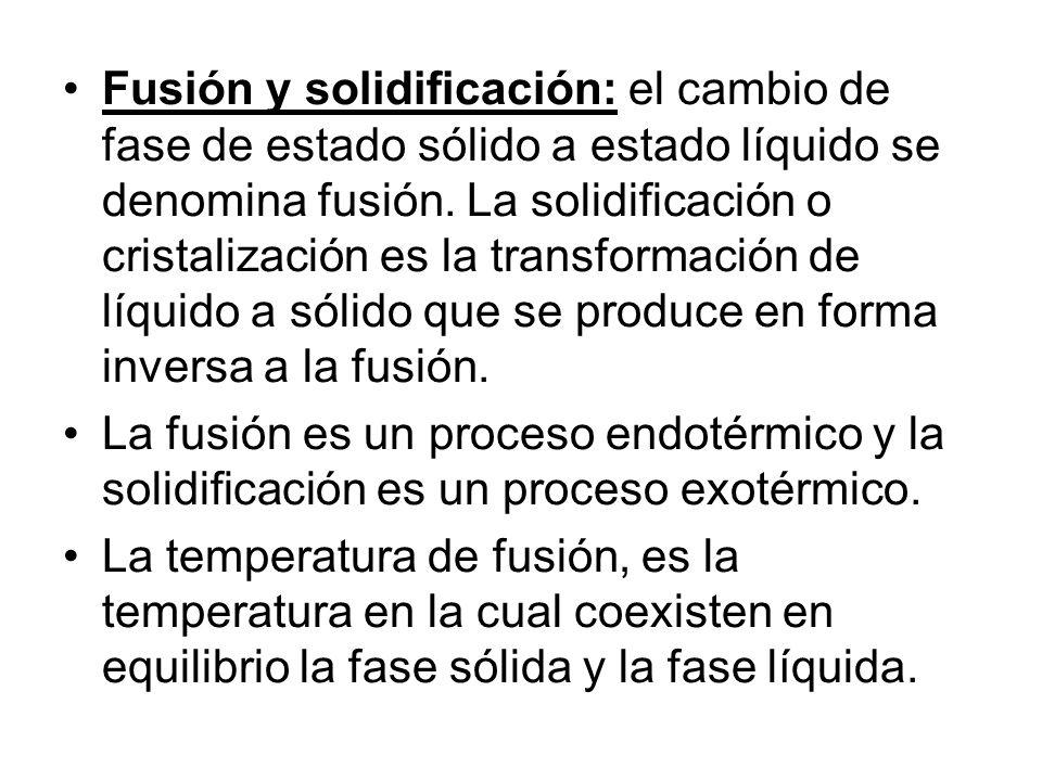 Fusión y solidificación: el cambio de fase de estado sólido a estado líquido se denomina fusión. La solidificación o cristalización es la transformaci