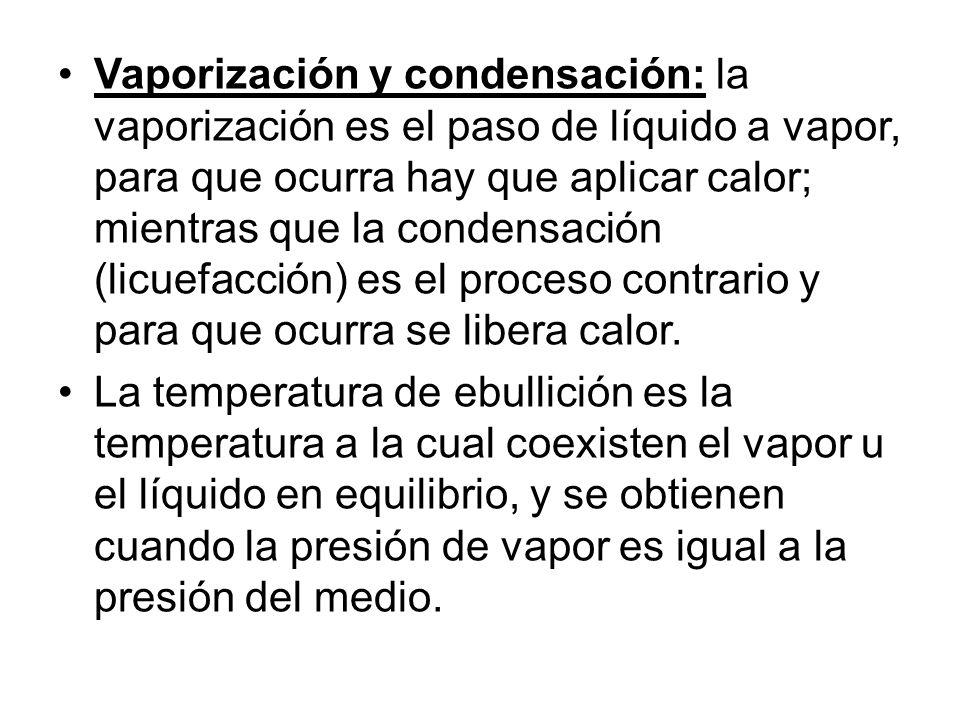 Vaporización y condensación: la vaporización es el paso de líquido a vapor, para que ocurra hay que aplicar calor; mientras que la condensación (licue