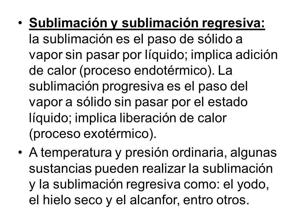 Sublimación y sublimación regresiva: la sublimación es el paso de sólido a vapor sin pasar por líquido; implica adición de calor (proceso endotérmico)