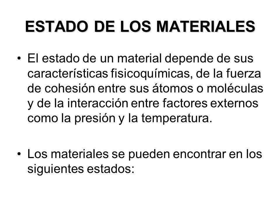 ESTADO DE LOS MATERIALES El estado de un material depende de sus características fisicoquímicas, de la fuerza de cohesión entre sus átomos o moléculas