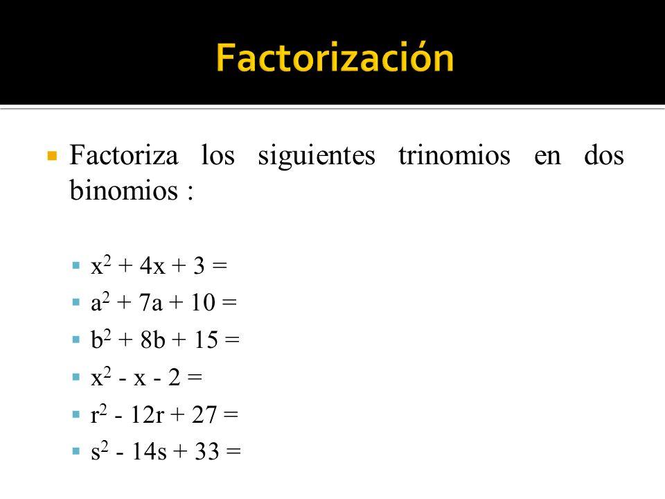 Factoriza los siguientes trinomios en dos binomios : x 2 + 4x + 3 = a 2 + 7a + 10 = b 2 + 8b + 15 = x 2 - x - 2 = r 2 - 12r + 27 = s 2 - 14s + 33 =