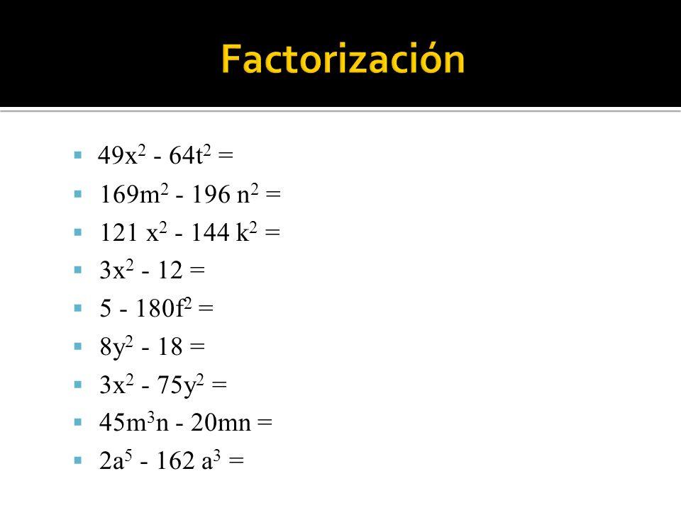 Factoriza los siguientes trinomios en cuadrados perfectos: b 2 - 12b + 36 = m 2 - 2m + 1 = 16m 2 - 40mn + 25n 2 = 36x 2 - 84xy + 49y 2 = 1 + 6ª + 9a 2 = 25a 2 c 2 + 20acd + 4d 2 =
