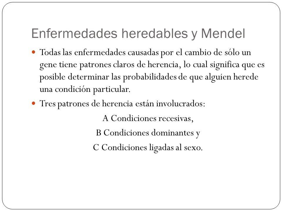 Enfermedades heredables y Mendel Todas las enfermedades causadas por el cambio de sólo un gene tiene patrones claros de herencia, lo cual significa qu