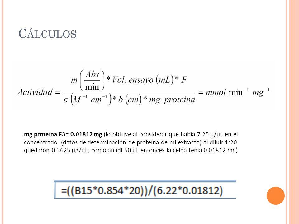 C ÁLCULOS mg proteína F3= 0.01812 mg (lo obtuve al considerar que había 7.25 / L en el concentrado (datos de determinación de proteína de mi extracto)