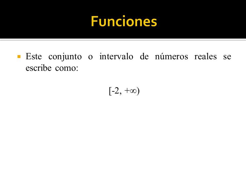 Este conjunto o intervalo de números reales se escribe como: [-2, +)