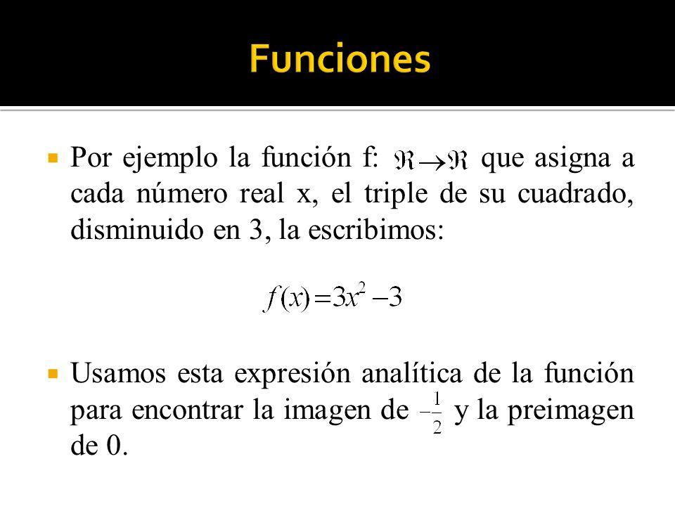 Por ejemplo la función f: que asigna a cada número real x, el triple de su cuadrado, disminuido en 3, la escribimos: Usamos esta expresión analítica d