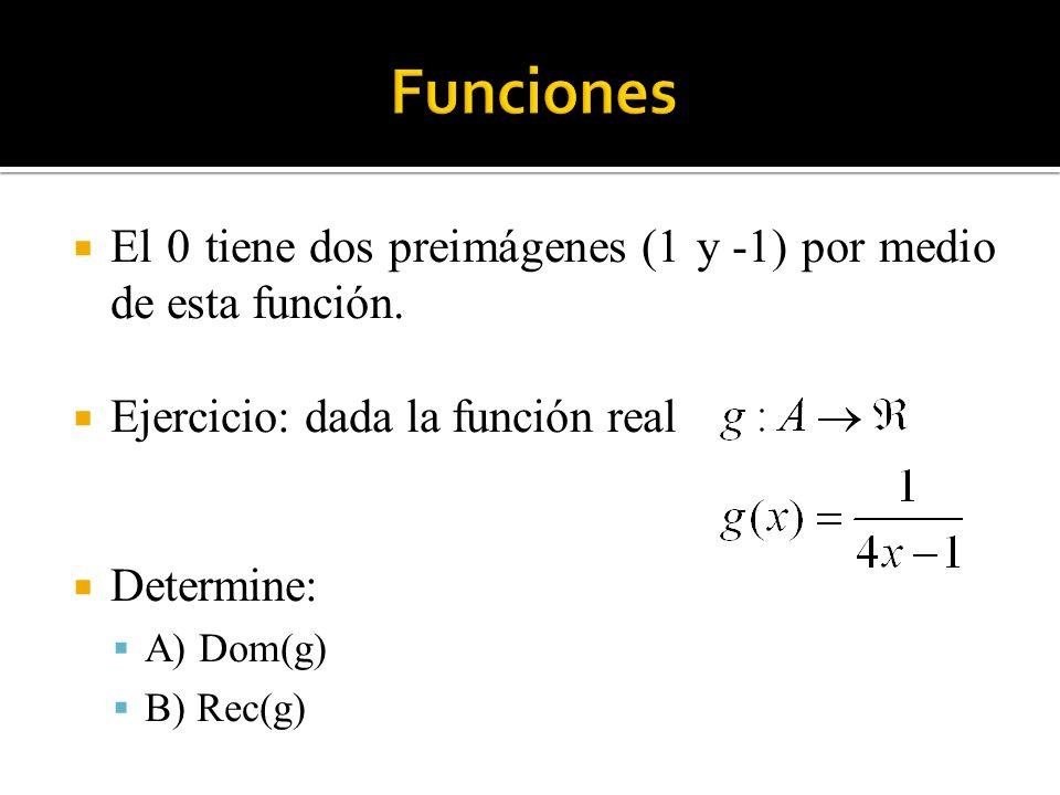 El 0 tiene dos preimágenes (1 y -1) por medio de esta función. Ejercicio: dada la función real Determine: A) Dom(g) B) Rec(g)