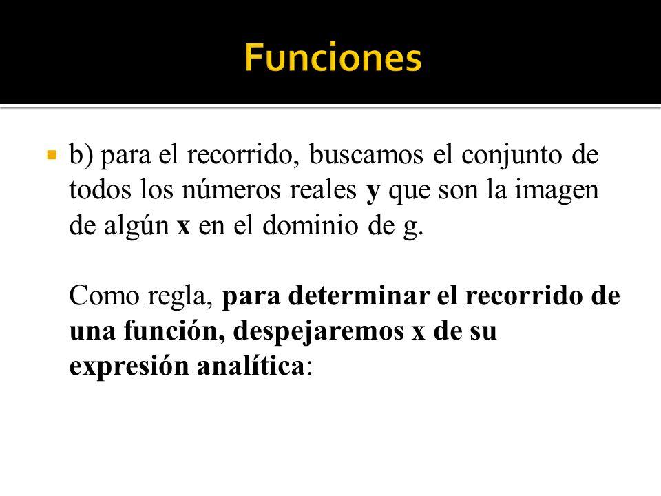 b) para el recorrido, buscamos el conjunto de todos los números reales y que son la imagen de algún x en el dominio de g. Como regla, para determinar