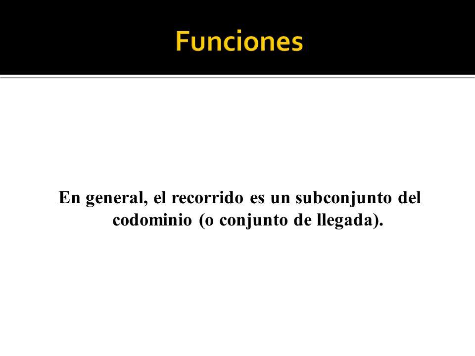 En general, el recorrido es un subconjunto del codominio (o conjunto de llegada).