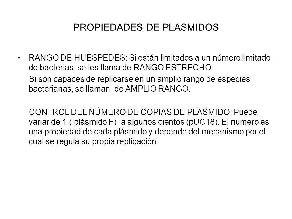 PROPIEDADES DE PLASMIDOS RANGO DE HUÉSPEDES: Si están limitados a un número limitado de bacterias, se les llama de RANGO ESTRECHO.