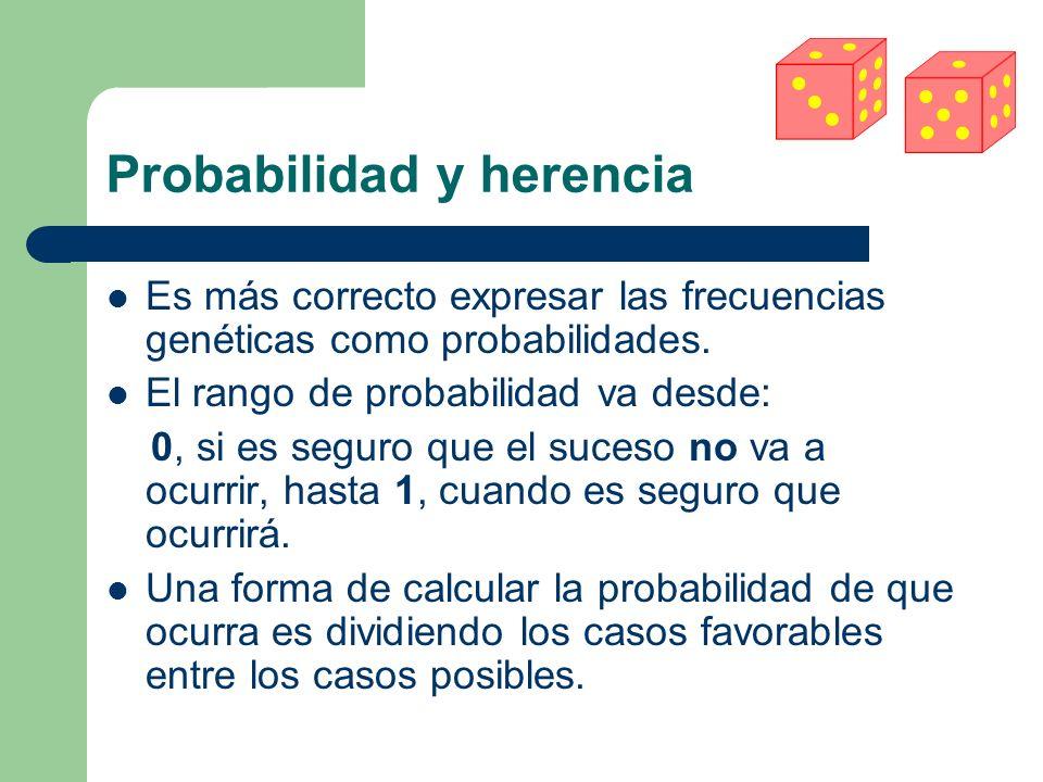 Probabilidad y herencia Es más correcto expresar las frecuencias genéticas como probabilidades.