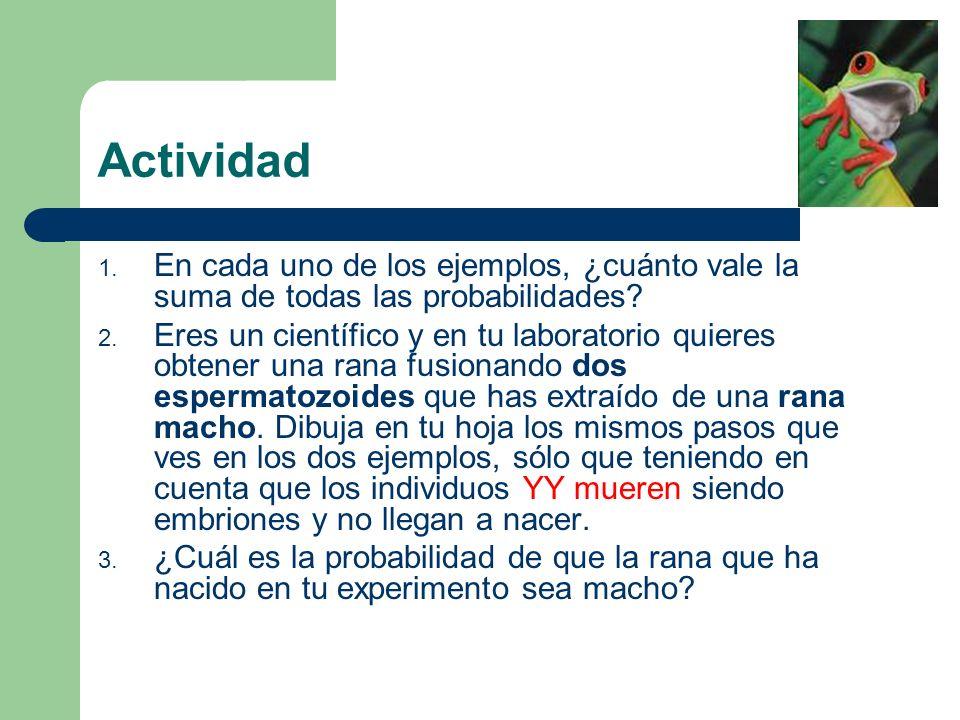 Actividad 1.En cada uno de los ejemplos, ¿cuánto vale la suma de todas las probabilidades.