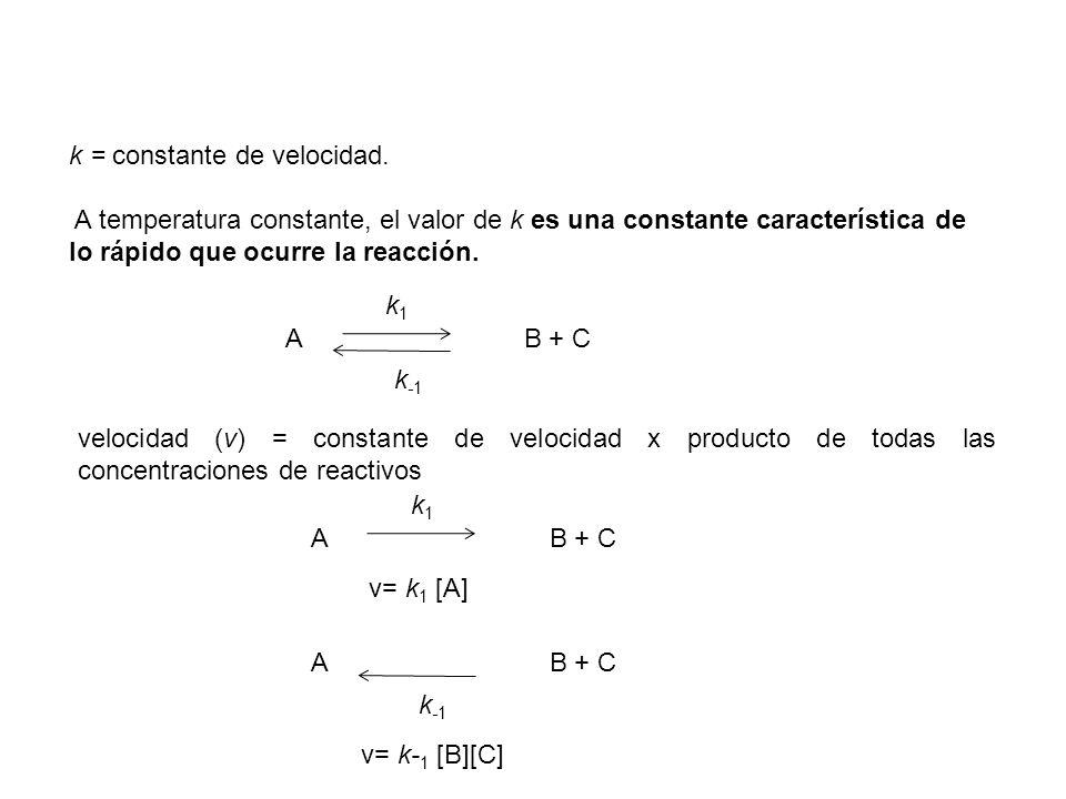 k = constante de velocidad. A temperatura constante, el valor de k es una constante característica de lo rápido que ocurre la reacción. A B + C k1k1 k