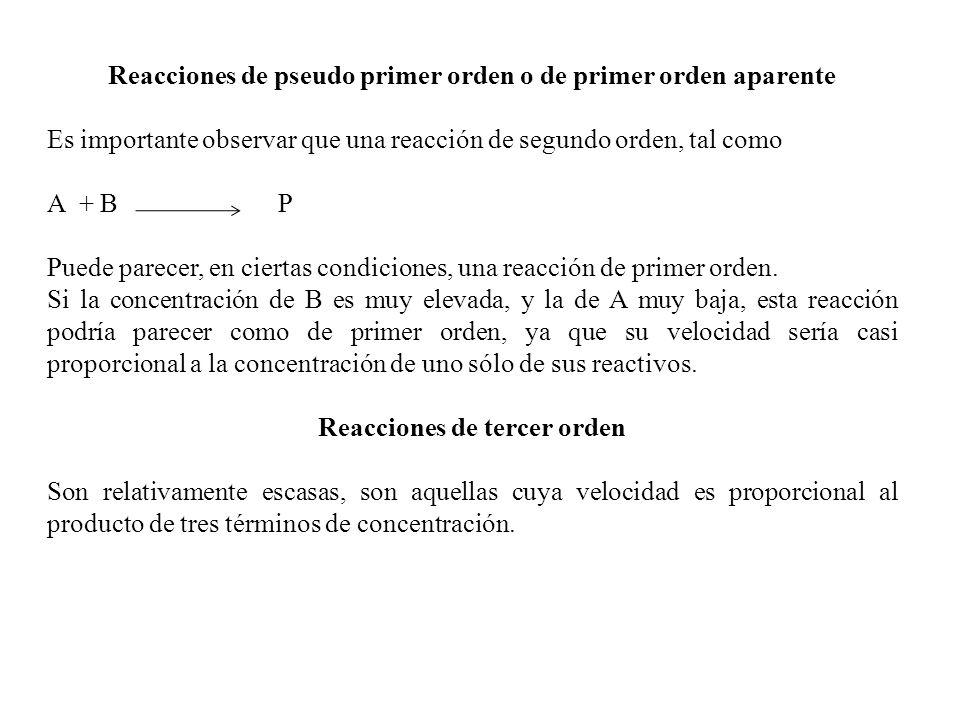 Reacciones de pseudo primer orden o de primer orden aparente Es importante observar que una reacción de segundo orden, tal como A + B P Puede parecer,