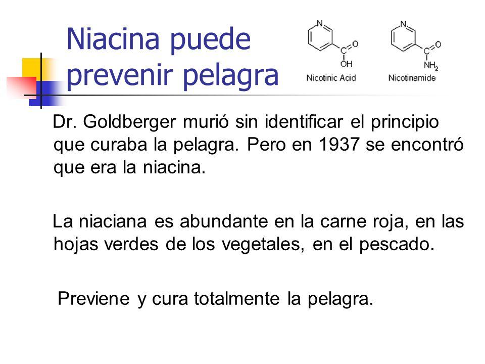 Niacina puede prevenir pelagra Dr. Goldberger murió sin identificar el principio que curaba la pelagra. Pero en 1937 se encontró que era la niacina. L