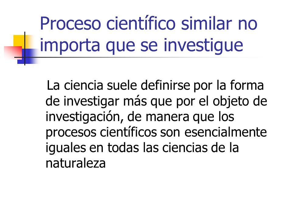 Proceso científico similar no importa que se investigue La ciencia suele definirse por la forma de investigar más que por el objeto de investigación,