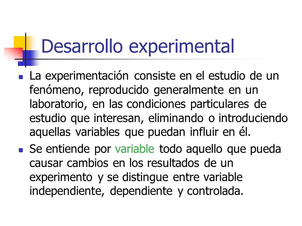 Desarrollo experimental La experimentación consiste en el estudio de un fenómeno, reproducido generalmente en un laboratorio, en las condiciones parti