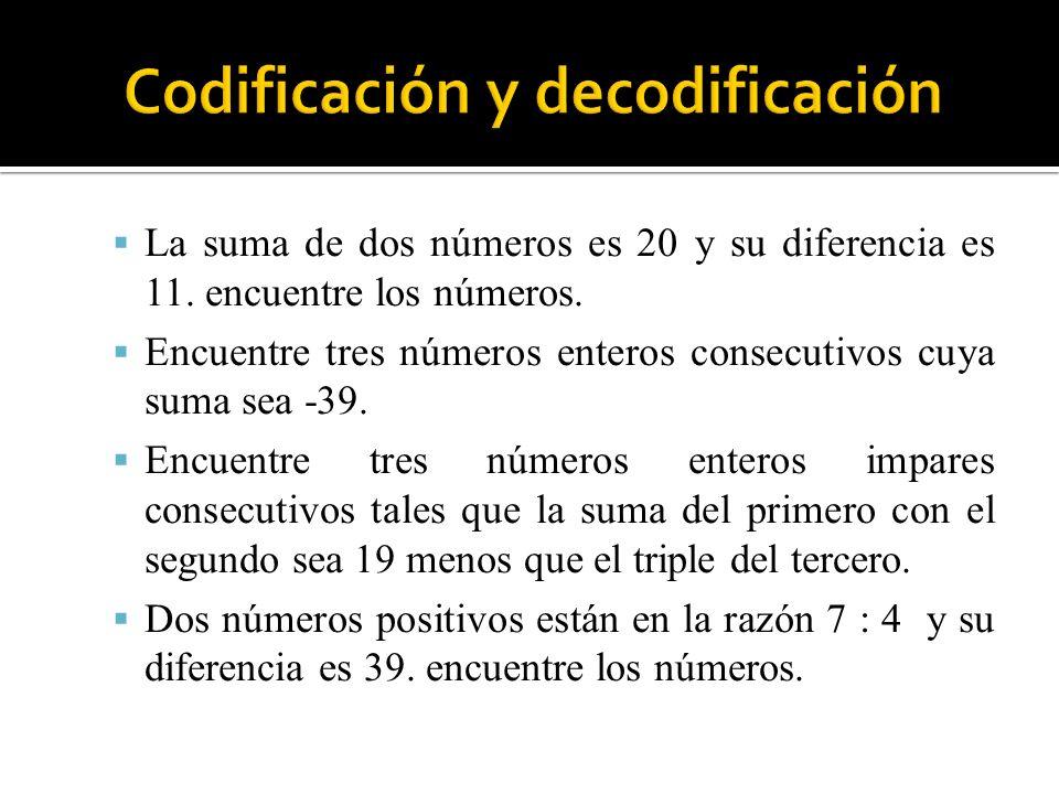 La suma de dos números es 20 y su diferencia es 11. encuentre los números. Encuentre tres números enteros consecutivos cuya suma sea -39. Encuentre tr