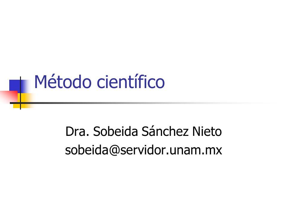 Método científico Dra. Sobeida Sánchez Nieto sobeida@servidor.unam.mx