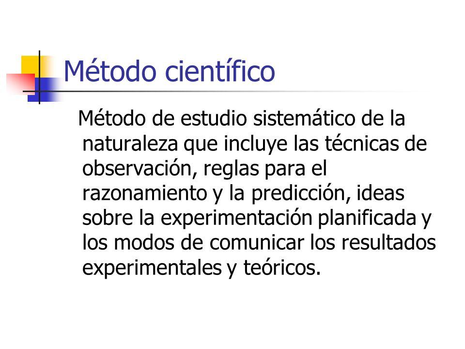 Método científico Método de estudio sistemático de la naturaleza que incluye las técnicas de observación, reglas para el razonamiento y la predicción,