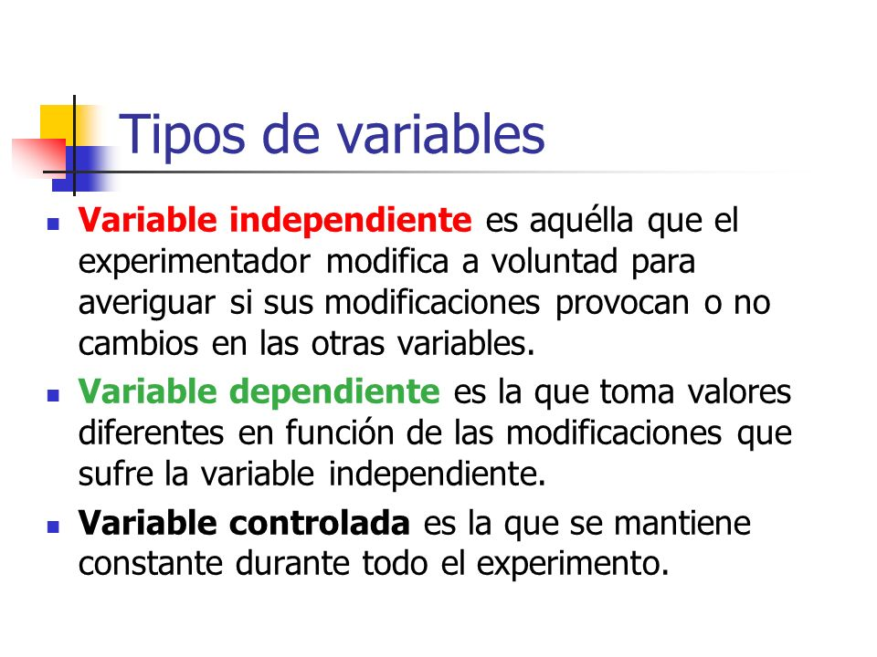 Tipos de variables Variable independiente es aquélla que el experimentador modifica a voluntad para averiguar si sus modificaciones provocan o no camb