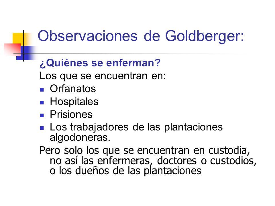 Observaciones de Goldberger: ¿Quiénes se enferman? Los que se encuentran en: Orfanatos Hospitales Prisiones Los trabajadores de las plantaciones algod