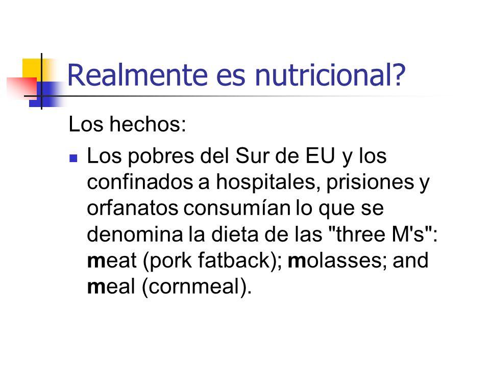 Realmente es nutricional? Los hechos: Los pobres del Sur de EU y los confinados a hospitales, prisiones y orfanatos consumían lo que se denomina la di
