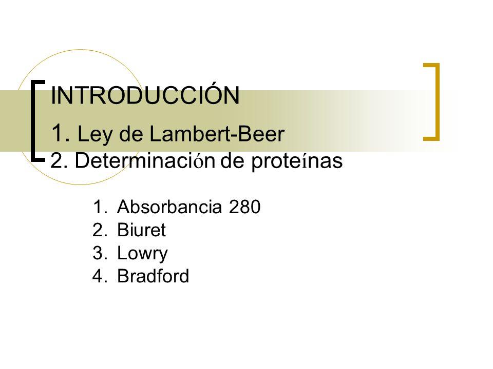 INTRODUCCIÓN 1. Ley de Lambert-Beer 2. Determinaci ó n de prote í nas 1.Absorbancia 280 2.Biuret 3.Lowry 4.Bradford