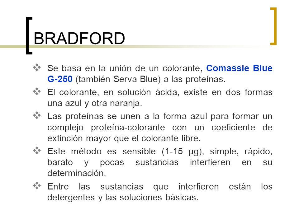 BRADFORD Se basa en la unión de un colorante, Comassie Blue G-250 (también Serva Blue) a las proteínas. El colorante, en solución ácida, existe en dos