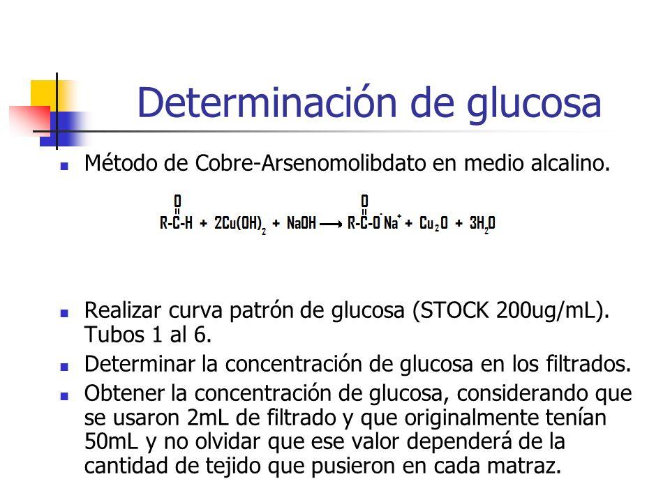 Determinación de glucosa Método de Cobre-Arsenomolibdato en medio alcalino. Realizar curva patrón de glucosa (STOCK 200ug/mL). Tubos 1 al 6. Determina