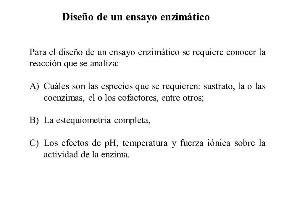 Diseño de un ensayo enzimático Para el diseño de un ensayo enzimático se requiere conocer la reacción que se analiza: A)Cuáles son las especies que se