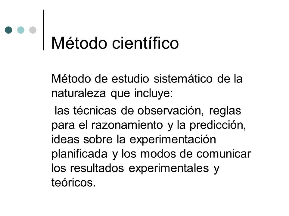 Método científico Método de estudio sistemático de la naturaleza que incluye: las técnicas de observación, reglas para el razonamiento y la predicción, ideas sobre la experimentación planificada y los modos de comunicar los resultados experimentales y teóricos.