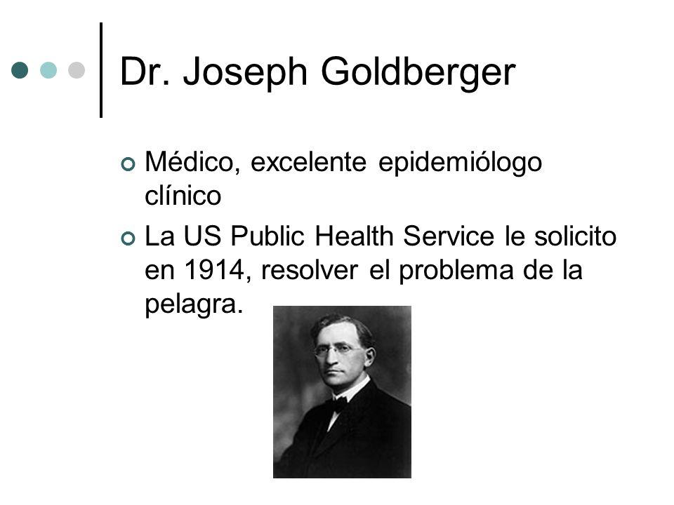 Dr. Joseph Goldberger Médico, excelente epidemiólogo clínico La US Public Health Service le solicito en 1914, resolver el problema de la pelagra.