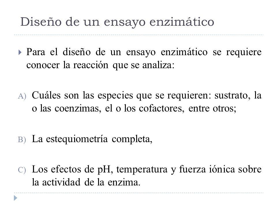 Diseño de un ensayo enzimático Para el diseño de un ensayo enzimático se requiere conocer la reacción que se analiza: A) Cuáles son las especies que s