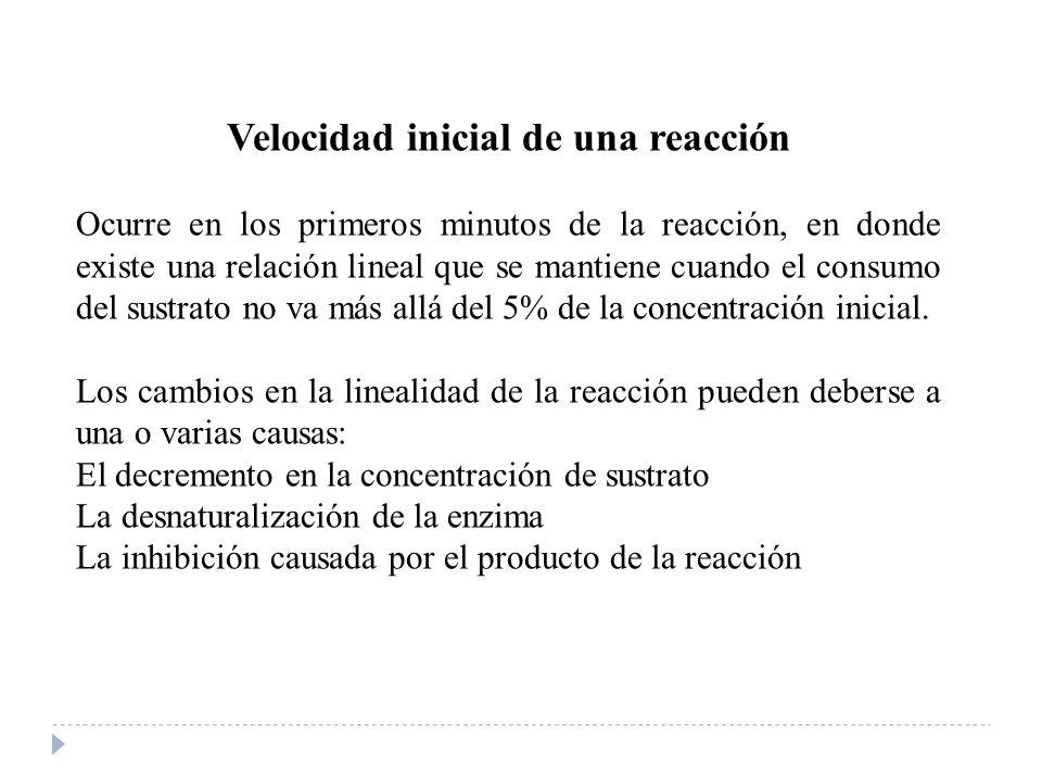 Velocidad inicial de una reacción Ocurre en los primeros minutos de la reacción, en donde existe una relación lineal que se mantiene cuando el consumo