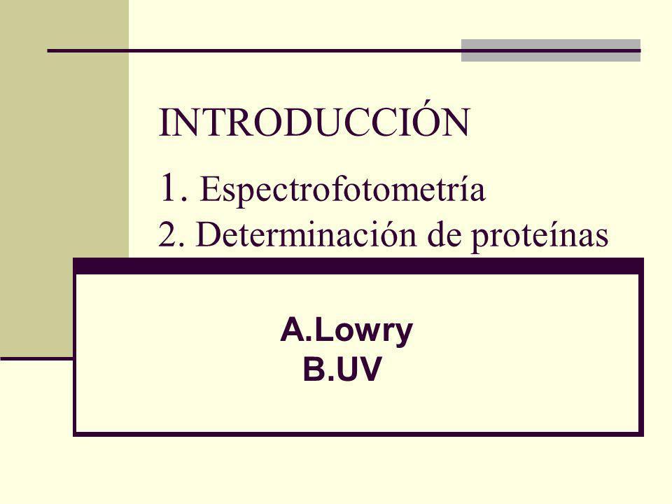 INTRODUCCIÓN 1. Espectrofotometría 2. Determinación de proteínas A.Lowry B.UV