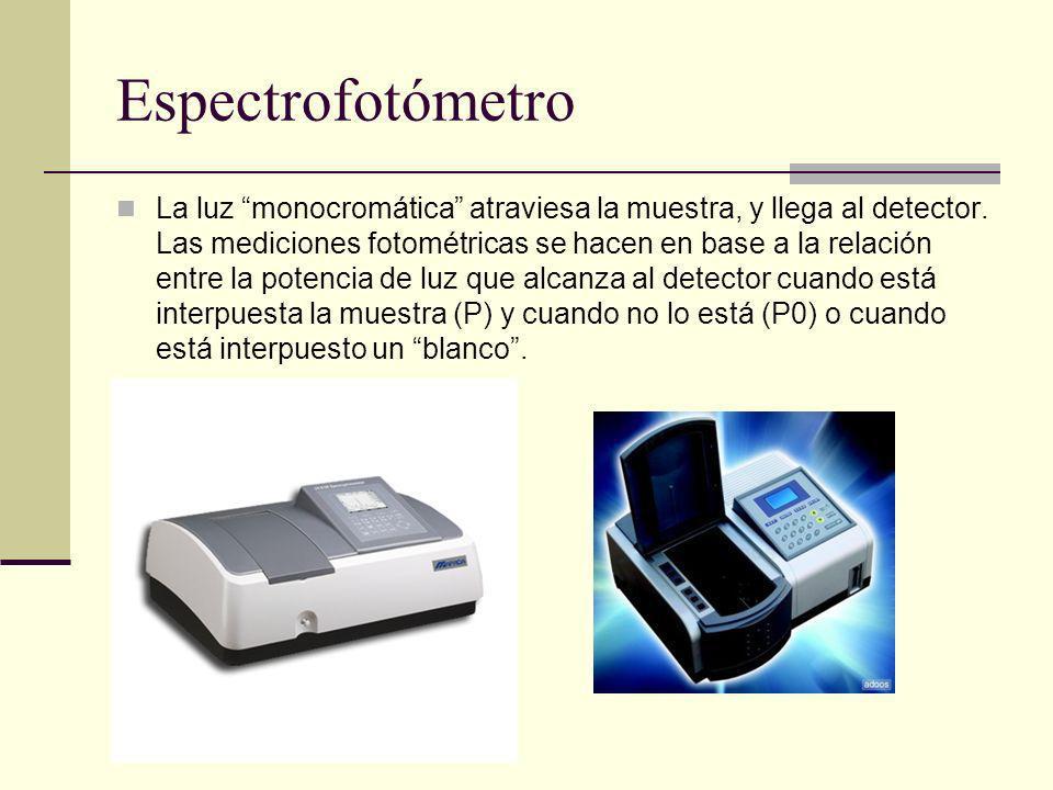 Espectrofotómetro La luz monocromática atraviesa la muestra, y llega al detector. Las mediciones fotométricas se hacen en base a la relación entre la