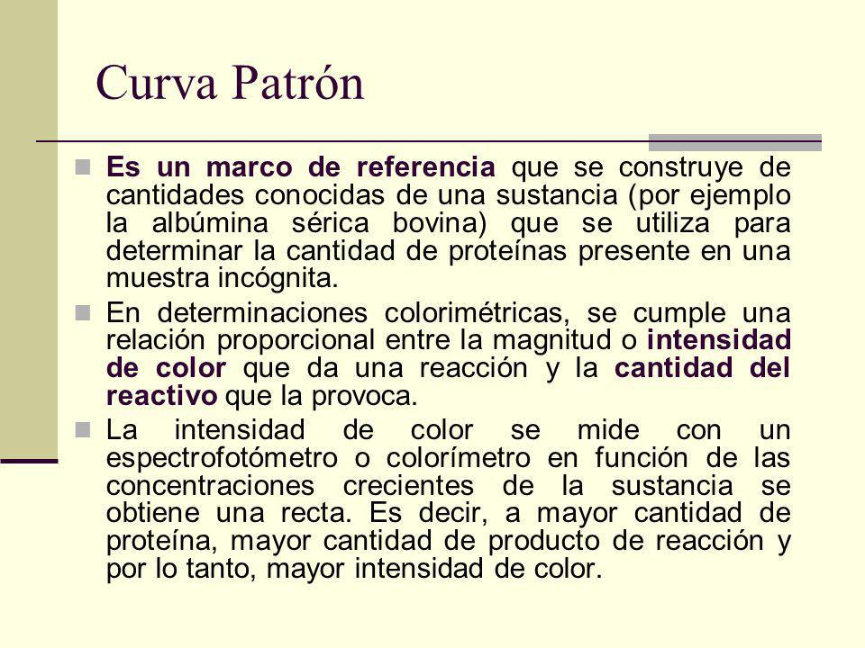 Curva Patrón Es un marco de referencia que se construye de cantidades conocidas de una sustancia (por ejemplo la albúmina sérica bovina) que se utiliza para determinar la cantidad de proteínas presente en una muestra incógnita.
