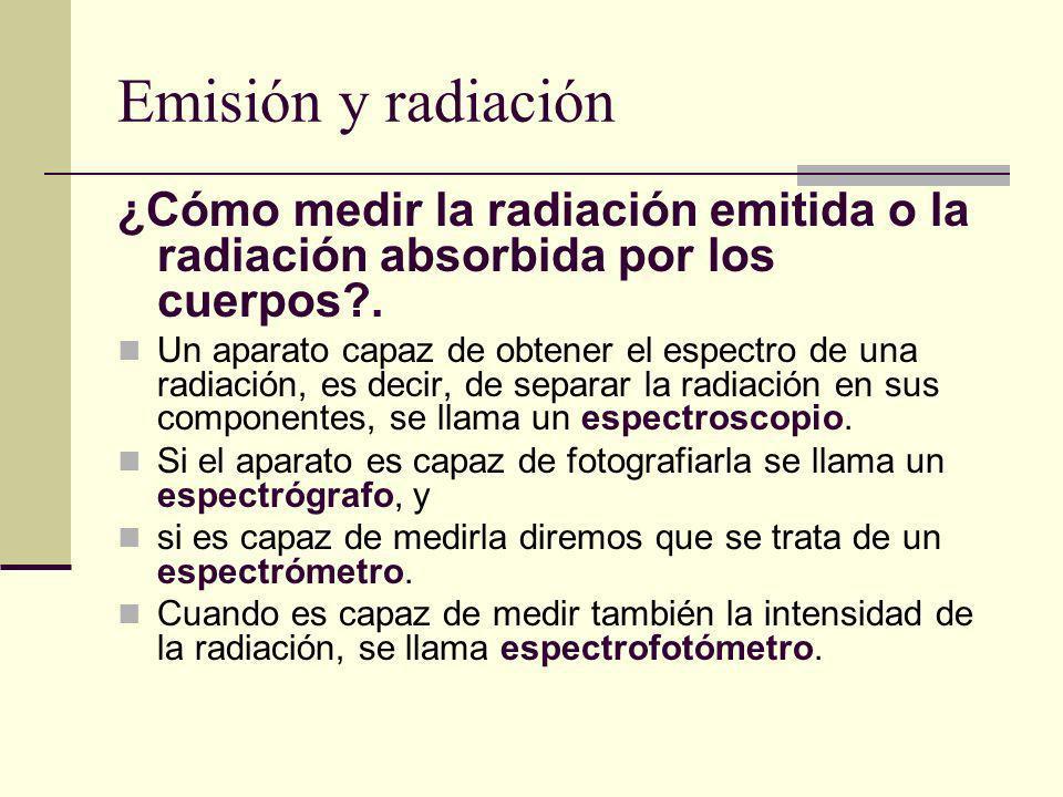 Emisión y radiación ¿Cómo medir la radiación emitida o la radiación absorbida por los cuerpos?. Un aparato capaz de obtener el espectro de una radiaci