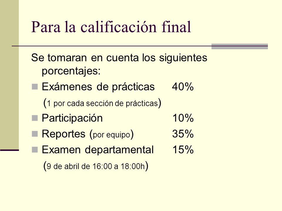 Para la calificación final Se tomaran en cuenta los siguientes porcentajes: Exámenes de prácticas 40% ( 1 por cada sección de prácticas ) Participació